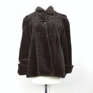 Vintage 80s Brown Pattern Faux Fur Coat